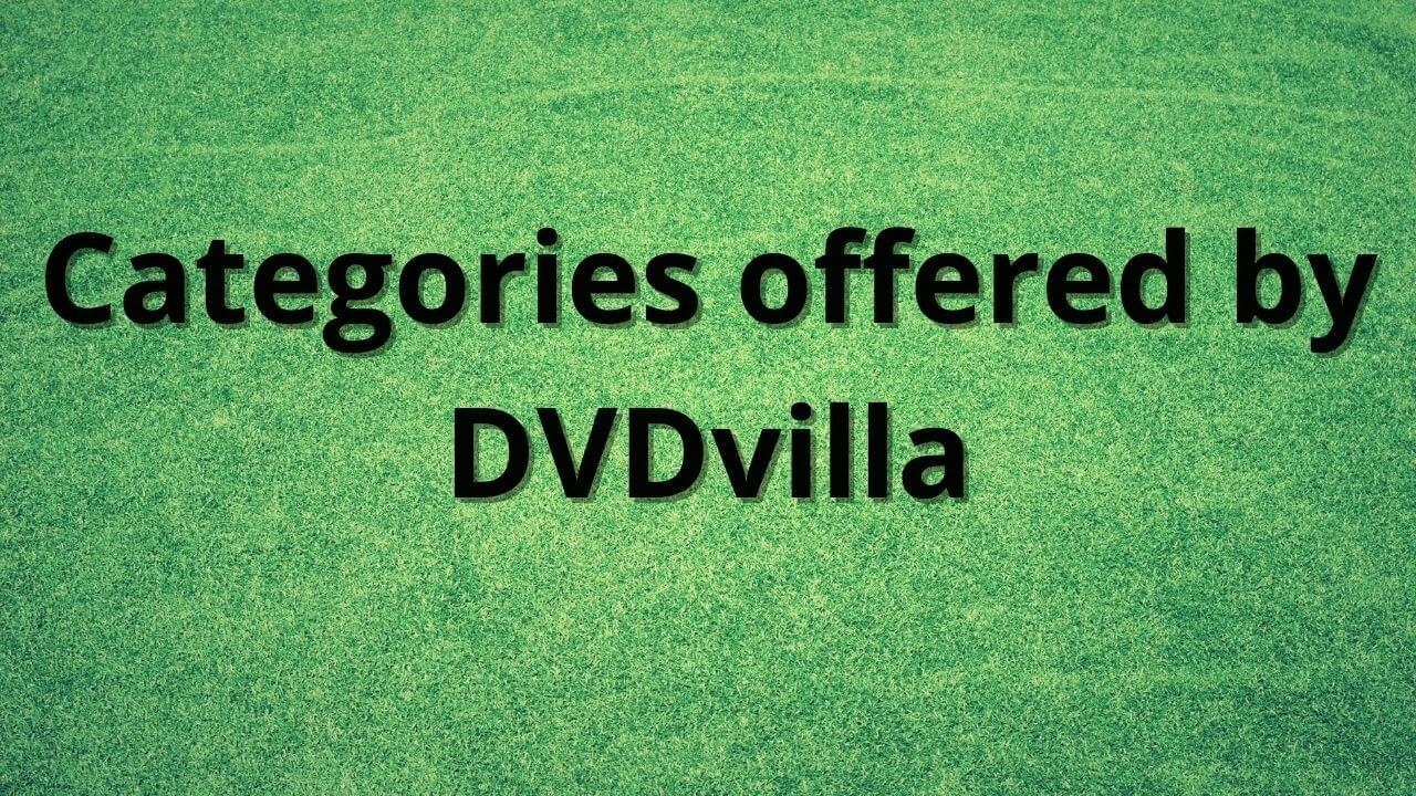 Categories offered by DVDvilla